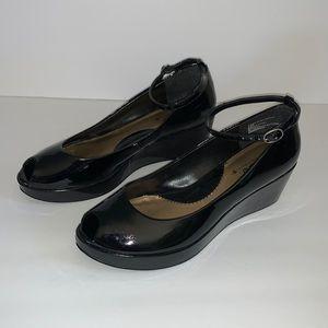SO Black Patent Platform Peeptoe Shoes